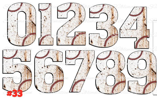 Sublimation print - Baseball numbers 0-9