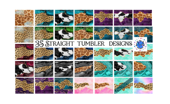 Digital download - 35pc bundle - Animal print STRAIGHT tumbler designs  - made for our sub blanks