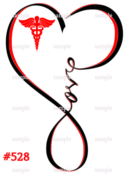 Sublimation print - Red Nurse Love Heart #528