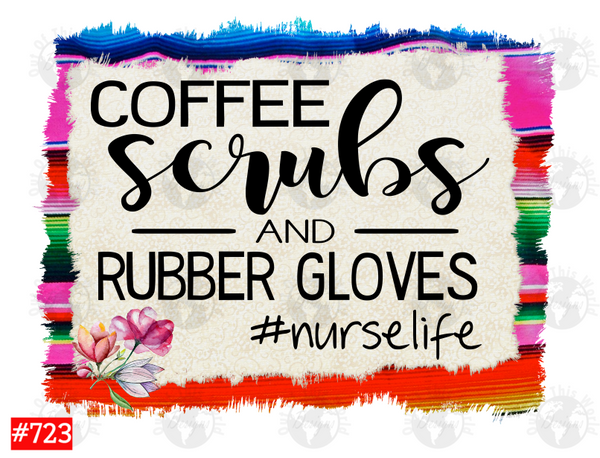 Sublimation print - Coffee scrubs and rubber gloves #723
