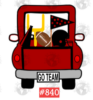 Sublimation print - Red Football Truck #840