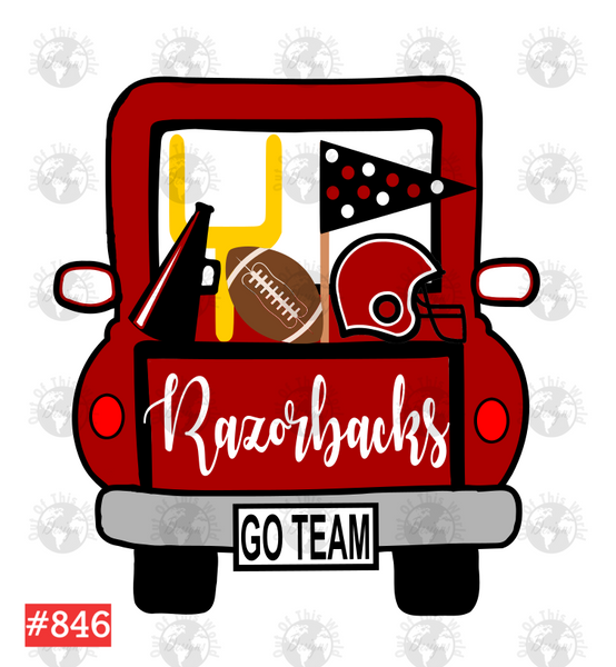 Sublimation print - Razorbacks Football Truck #846