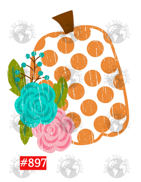Sublimation print - Pumpkin with flowers #897