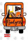 Sublimation print - Badgers orange football truck #928
