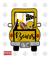 Sublimation print - Bears football truck #930