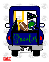 Sublimation print - Grizzlies Football Truck #959