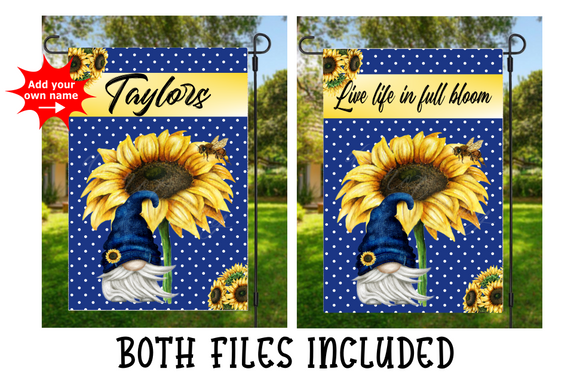 Digital download - Sunflower gnome flag bundle  - Personlize your own
