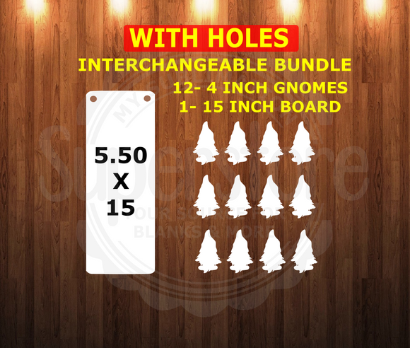 WITH holes -13 Piece interchangeable gnome bundle - sublimation blanks