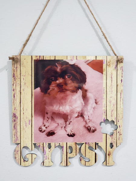 Your Dogs NAME on the bottom of the frame hanging with holes - 3 different sizes use drop down bar -  Sublimation Blank MDF Single Sided