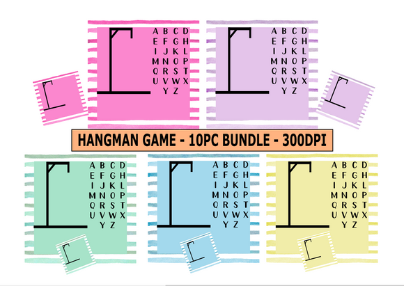 (Instant Print) Digital Download - 10pc Hangman Design Bundle - made for our sublimation blanks
