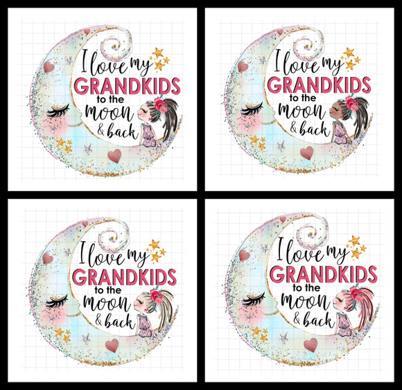 (Instant Print) Digital Download - 4pc bundle -  love my Grandkids to the moon and back