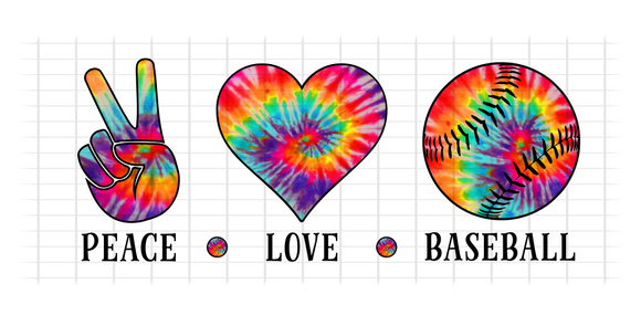 (Instant Print) Digital Download - PEACE - LOVE - BASEBALL