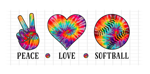 (Instant Print) Digital Download - PEACE - LOVE - SOFTBALL