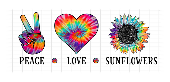 (Instant Print) Digital Download - PEACE - LOVE - SUNFLOWERS