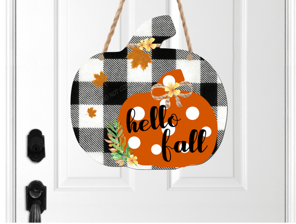 (Instant Print) Digital Download - Hello fall plaid pumpkin
