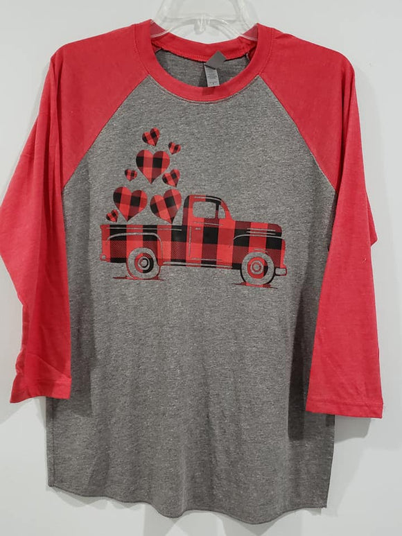 Heat Transfer (screen print) Plaid heart truck