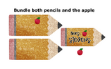 (Instant Print) Digital Download - Glitter Pencil Bundle 2 pencils and a apple - made for our  blanks