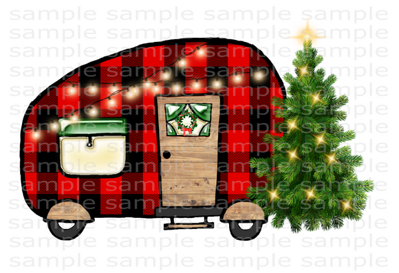 (Instant Print) Digital Download - Christmas plaid camper