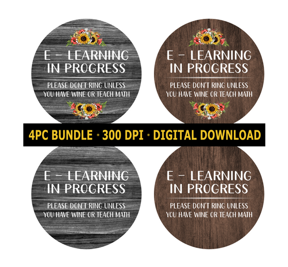 (Instant Print) Digital Download - E- Learning wine & math 4pc bundle - made for our  blanks