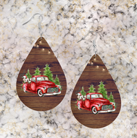 (Instant Print) Digital Download - 4pc Tear drop red truck earring Bundle for our sublimation earrings