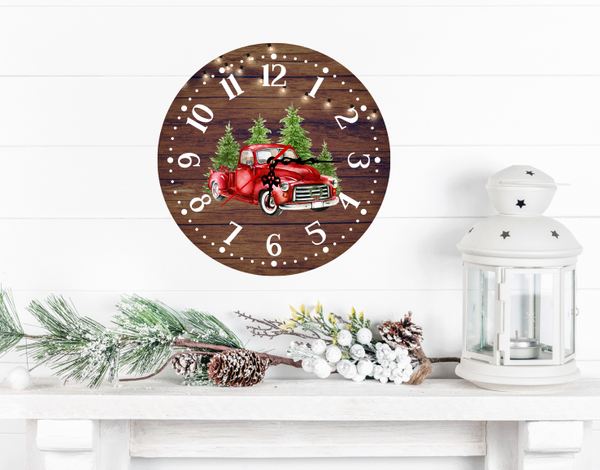 Sublimation print (ONLY) - Red truck Christmas clocks - Made for our sublimation blanks