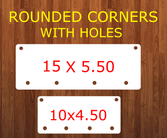 ROUNDED - Rectangle bar WITH holes (4 Bottom holes) - 2 sizes -  Sublimation Blank MDF Single Sided