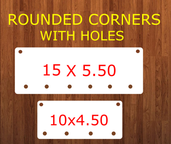 ROUNDED - Rectangle bar WITH holes (6 Bottom holes) - 2 sizes -  Sublimation Blank MDF Single Sided