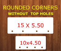 ROUNDED - Rectangle bar WITHOUT top holes (4 Bottom holes) - 2 sizes -  Sublimation Blank MDF Single Sided