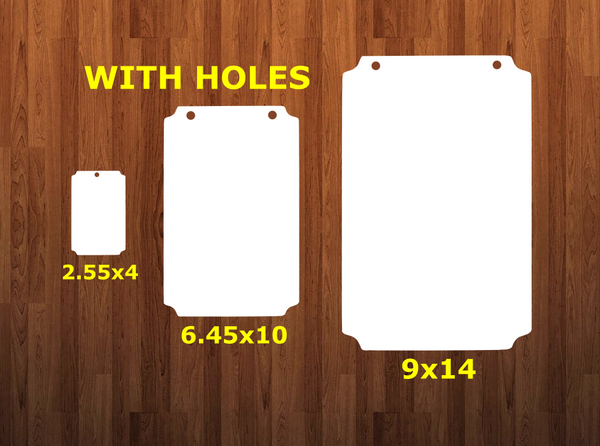 Plaque shape with holes - Wall Hanger - 3 sizes to choose from -  Sublimation Blank  - 1 sided  or 2 sided options