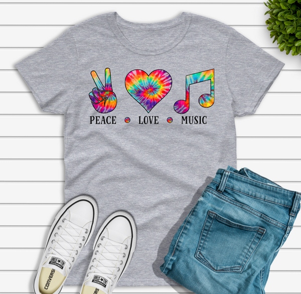 (Instant Print) Digital Download - PEACE - LOVE - MUSIC TIE DYE