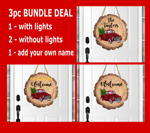 (Instant Print) Digital Download - 3 pc bundle wood slice with red plaid truck