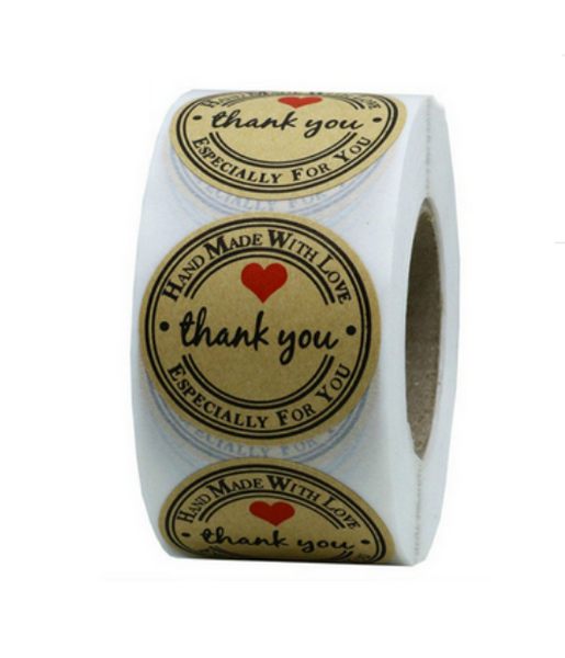 500 piece roll -  Thank you stickers - 1 inch in size