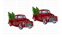 (Instant Print) Digital Download - 2pc Bundle Red with black plaid trucks