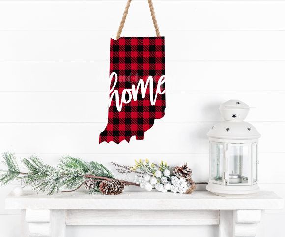 Sublimation print ONLY - Buffalo plaid Indiana print - Made for our MDF sublimation blanks