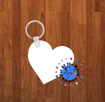 2 inch Heart Keychain - Single sided or double sided  -  Sublimation Blank