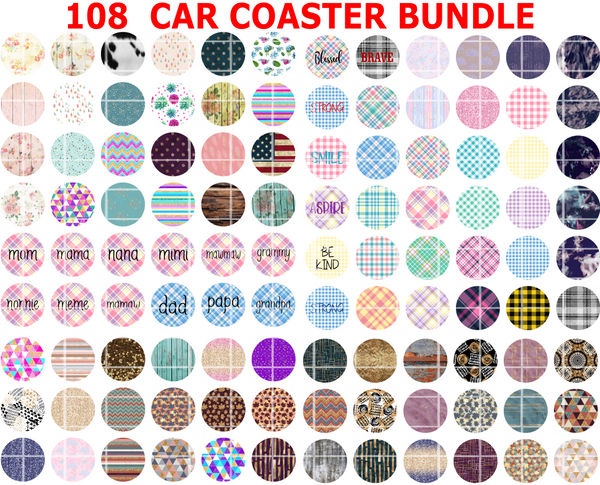 (Instant Print) Digital Download - 108 Car Coaster Digital Bundle