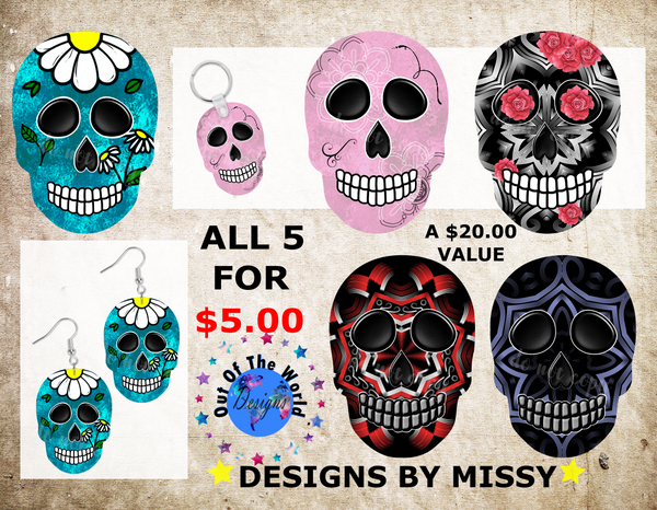 (Instant Print) Digital Download - 5 Skull designs - made for our blanks