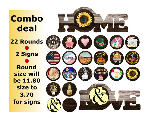(Instant Print) Digital Download - Home and Love combo set 24 pieces - made for our blanks