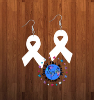 Cancer ribbon earrings size 2 inch - BULK PURCHASE 10pair