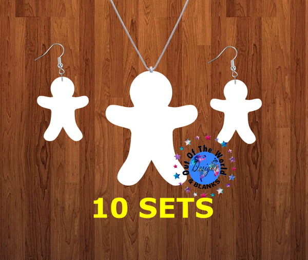 Gingerbread man necklace sets- you get 10 sets - BULK PURCHASE 10pair earrings and 10pc necklace