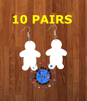 Fluffy Gingerbread man earrings size 2inch - BULK PURCHASE 10pair