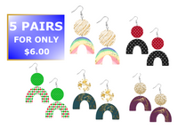 (Instant Print) Digital Download - Rainbow 5pc earring bundle set - made for our blanks