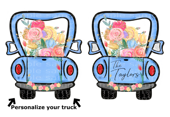 (Instant Print) Digital Download - Truck with floral -  design made for MDF  blanks