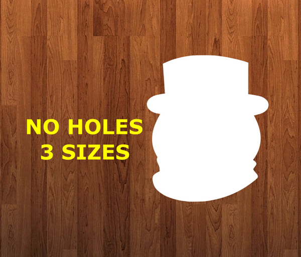 Snowman head WITHOUT holes - Wall Hanger - 3 sizes to choose from -  Sublimation Blank  - 1 sided  or 2 sided options