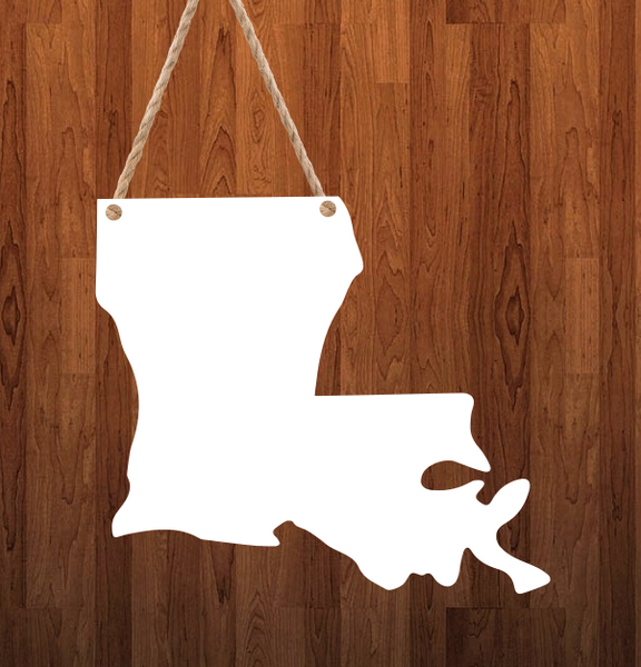 Louisiana State Hanger- 3 different sizes use drop down bar -  Sublimation Blank MDF Single & Double Sided