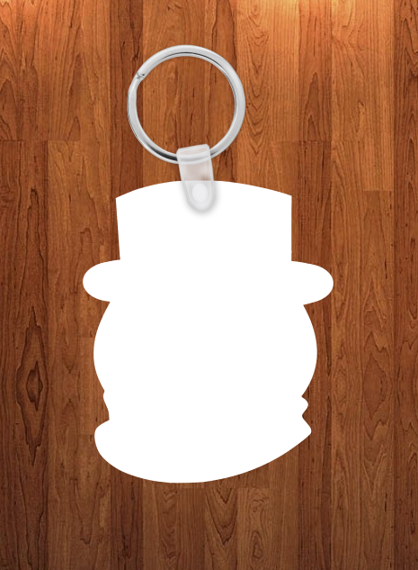 Snowman head Keychain - Single sided or double sided  -  Sublimation Blank