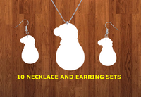 Snowman with beanie necklace sets- you get 10 sets - BULK PURCHASE 10pair earrings and 10pc necklace