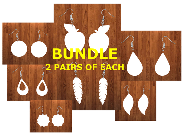 Bundle earrings size 2 inch - BULK PURCHASE 14pairs - 2 of each design