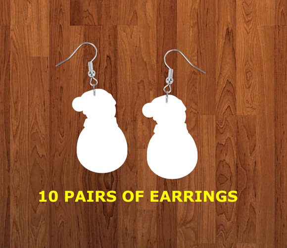 Snowman with beanie earrings size 2 inch - BULK PURCHASE 10pair