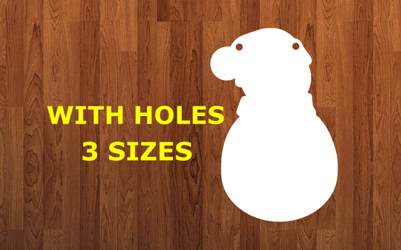 Snowman with beanie with holes - Wall Hanger - 3 sizes to choose from -  Sublimation Blank  - 1 sided  or 2 sided options